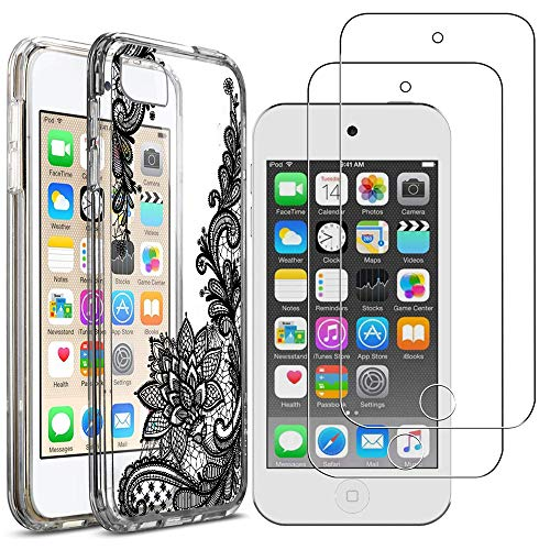 for iPod Touch 5/6/7 Case with 2 Pack Glass Screen Protector Phone Case for Men Women Girls Clear Soft TPU with Protective Bumper Cover Case for iPod 5th/6th/7th Generation -Flower (Ipod Protective 5 Case Flower)