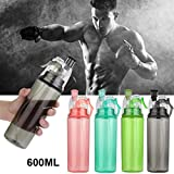 Water Bottle for Men and Women, Iuhan 21 OZ Sport Cycling Mist Spray Water Gym Beach Bottle Leak-proof Drinking Cup (Black)