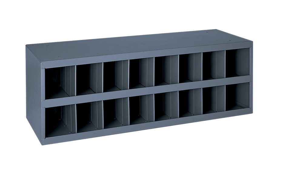Durham 353-95 Gray Cold Rolled Steel 16 Opening Bin with Slope Self Design, 33-3/4'' Width x 11-1/2'' Height x 12'' Depth