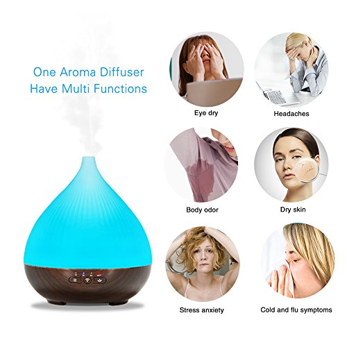 Zehui Phone APP Control Compatible Cool Mist Aroma Humidifier with 7 Colored LED Lights Timer Function Auto Shut-off 300ml Essential Oil Aroma Diffuser EU Plug