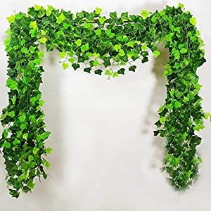 12 Pcs 7.9 Feet/piece Artificial Plants Ivy Leaves Garland Fake Greenery Vine Hanging Silk Plant Leaves String for Hanging Ceremony Wedding Arch Patio Garland Foliage Garden Swing Jungle Decoration 62