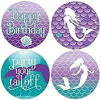 DISTINCTIVS Mermaid Birthday Favor Stickers - 1.75 in - 40 Labels