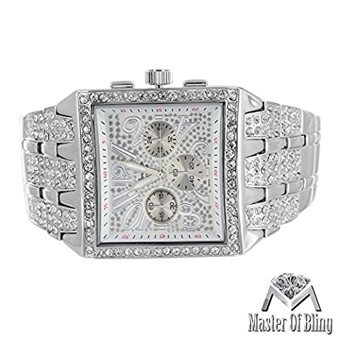 Big Square Face Watch Mens Iced Out Lab Diamonds Geneva Platinum Steel Back Jojo0738964387836 (Iced Out Square Watch)