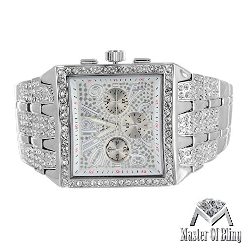 Big Square Face Watch Mens Iced Out Lab Diamonds Geneva Platinum Steel Back - Men Faces Square With
