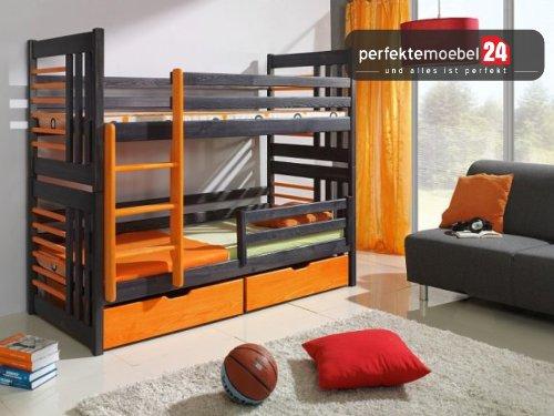 ROLAND Hochbett inkl. LATTENROST und MATRATZE Etagenbett Kinderbett Spielbett Massiv Kiefer Oeko-Lack Bett