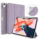Soke iPad Pro 11 Inch 2018 Case with Pencil Holder, Premium Trifold Case [Strong Protection + Apple Pencil Charging Supported], Auto Sleep/Wake, Soft TPU Back Cover for New iPad Pro 11', Violet