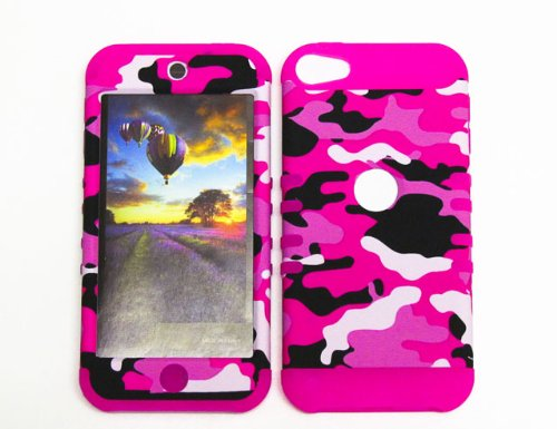 HYBRID IMPACT SILICONE CASE + MAGENTA HOT PINK SKIN FOR APPLE IPOD ITOUCH 5 PINK BLACK CAMO