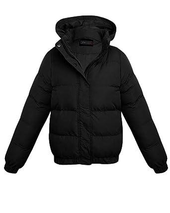 8375e4c22 shelikes Kids Boys Girls Short Hem Padded Quilted Hooded Collar Zip ...