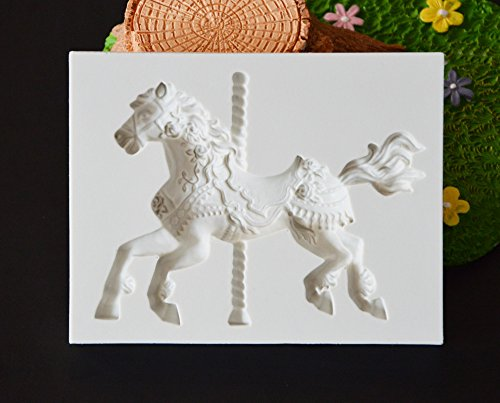 Silicone Mold - 3d Jewelry Carousel Horse Mould Fondant Cake Molds Silicone Mold Cupcake Baking Chocolate Marry - Crayon Japan Question Nightmare Popsicle Novelty Soap Turtle Dragon Lotion Lotus
