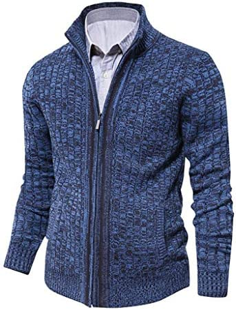 メンズスリムフィットは、ポケットと襟カーディガンのフルフロントジッパーニットケーブルセータージャケット厚い熱冬のコートスタンド (Color : A, Size : M)