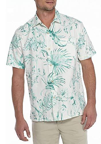 Cream Bahama Tommy - Tommy Bahama El Botanico Silk Blend Camp Shirt (Color: Marble Cream, Size 3XL)