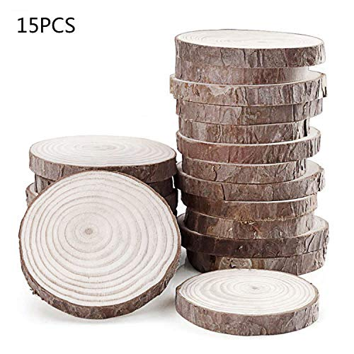 Fuhaieec 15pcs 3.5-4 Unfinished Natural Wood Slices Circles with Tree Bark Log Discs for DIY Craft Rustic Wedding Ornaments