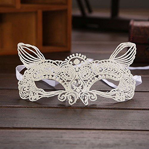 Halloween Masquerade Makeup Party Sexy Lady Black White Lace Mask Hollow Out Catwoman 2019 New (D) ()