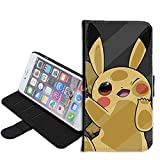 iPhone SE Case, iPhone 5s 5 Case, Pikachu Pokemon PU Leather Folio Flip Wallet Case Cover with ID Credit Card Holder with Stand for iPhone 5s/5/SE + Thewart_Eight® Stylus Pen (#007)