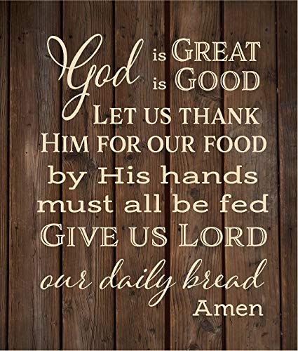 God is Great God is Good Give us Lord Our Daily Bread Amen Prayer Wood Sign or Canvas Thanksgiving Christmas Hostess Gift