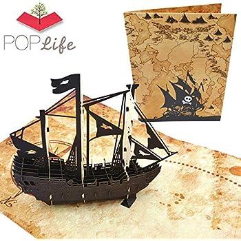 Amazon.com: 3d Negro Barco pirata Pop-Up tarjeta de ...