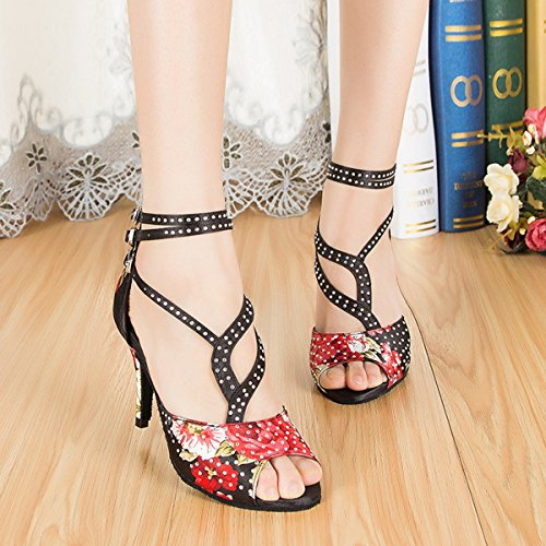 US Floral Satin Ballroom M L195 Women's Minishion Crystals Sandals Latin 10 Black Salsa Dance qtOwq4nB