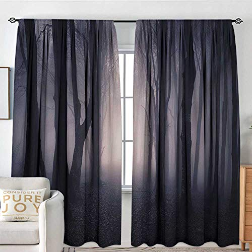 Petpany Rod Pocket Curtains Forest,Path Through Dark Deep in Forest with Fog Halloween Creepy Twisted Branches Picture,Pink Brown,Insulating Room Darkening Blackout Drapes for Bedroom -