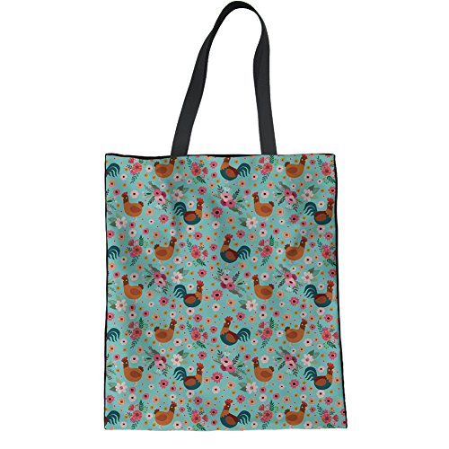 HUGS IDEA Chicken Flower Linen Tote Bag Teen Girl Travel Shopping Hipster Shoulder Bag School Bags (Chicken Bag)