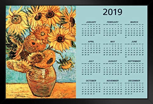 (Vincent Van Gogh Sunflowers Art Print 2019 Calendar Framed Poster 14x20 inch)