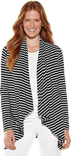 Coolibar UPF 50+ Women's Sun Wrap - Sun Protective (Large- Black/White Stripe)