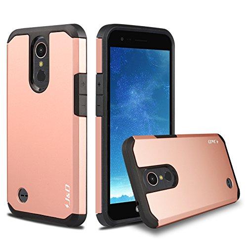 J&D Case Compatible for LG K20 V/LG K20 Plus/LG Harmony/LG K10 2017 / LG V5 / LG Grace Case, Heavy Duty [Dual Layer] Hybrid Shockproof Protective Rugged Bumper Case for LG K20 V Case - Rose Gold