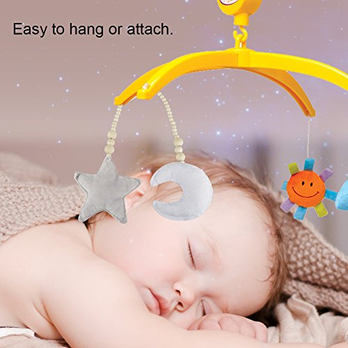 GLOGLOW Baby Crib Toys Hanging Pendants,Star&Moon Ornaments Wooden Beads String Hanging DIY Ornament for Baby Kids Bed Play Tent Room Decor(White Moon & Gray Star)
