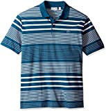 Lacoste Men's Short Sleeve Engineered Stripe Mini Pique Slim Polo-PH2075, Legion Blue/White, 3