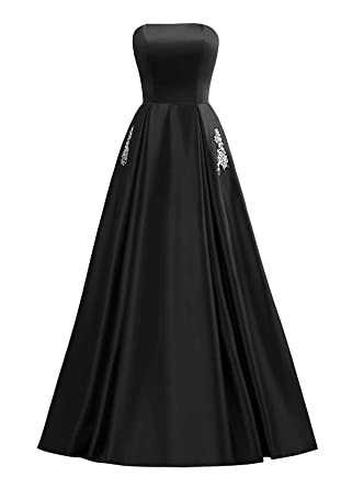 Changuan Womens Off The Shoulder Prom Dresses A Line Satin Beaded Evening Formal Gowns with Pocket