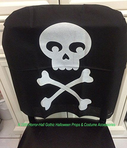 Gothic Pirate Birthday-SKULL & CROSSBONES CHAIR COVER-Haunted House