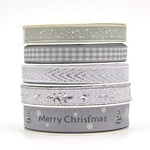 Nueva cinta navideña Árbol de navidad impreso Cinta de estrella de cinco puntas Cinta 5 juegos de celosía mixta cinta de...