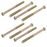 uxcell M8 x 120mm 55mm Long Thread Phillips Round Head Machine Screws Bronze Tone 8PCS