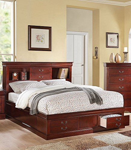 Louis Philippe Queen Bed - ACME Furniture Louis Philippe III 24380Q Queen Bed with Storage, Cherry