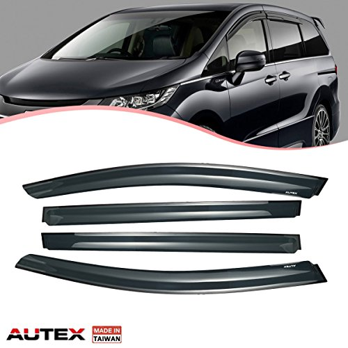 AUTEX Tape On Side Window Deflectors Compatible with Honda Odyssey 2011 2012 2013 2014 2015 2016 2017 Window Visor Rain Guard 4 Pieces a Set
