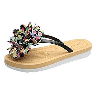 491b4eec0a85 2019 Summer! Kasien Fashion Women Summer Flip Flops Slipper Flower Flat  with Beach Slippers Slides