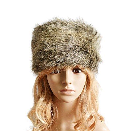 LKOUS Women Winter Faux Fur Russian Cossack Hat Headband Ear Warmer, Ideas]()