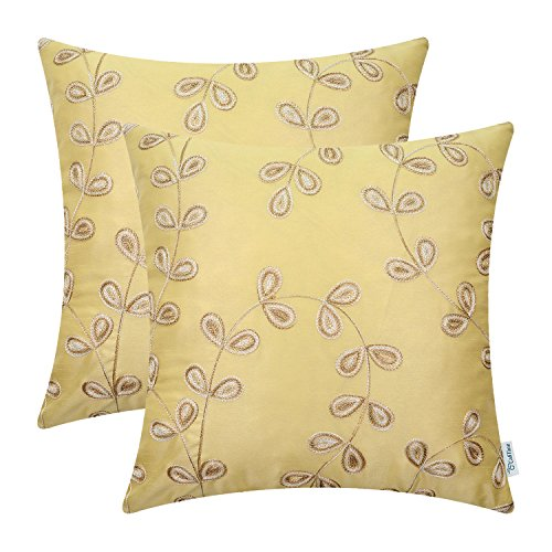 CaliTime Pack of 2 Faux Silk Throw Pillow Covers Cases for Home Sofa Couch 18 X 18 Inches, Cute Gradient Leaves Chain Embroidered, Gold (Throw Silk Cushion)