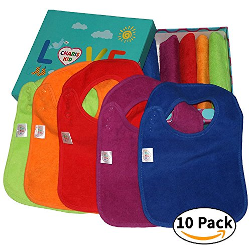 BEST Baby Teething Bibs With Snaps Closure Waterproof 100% Terry Cotton Colorful Dribble & Teething Unique Drooler Bibs Set (Bibs Waterproof 10-Pack (With Gift (10 Pack Terry Bibs)