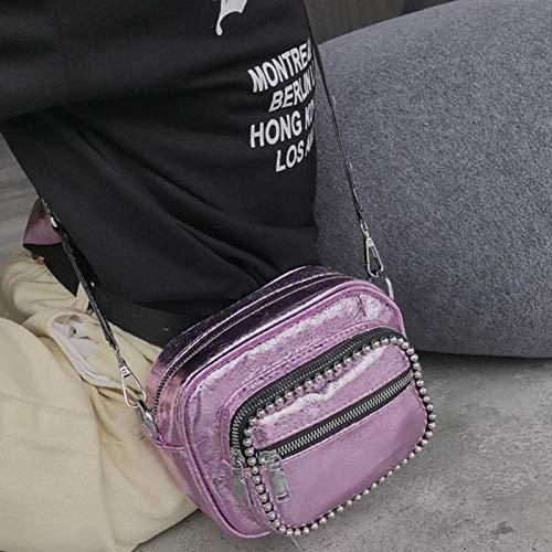 Bolso Bolsa de de la Bolsas Cruzado Las Mensajero la del explosin Hombro de Correas pequea de de Remache de Retro Casual Anchas Cremallera del Aprigy grieta Rosado la Mujeres Bolsa PBqw5an0x