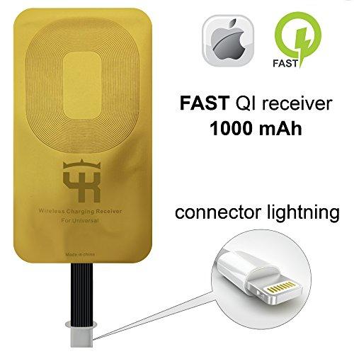 QI Receiver for IPhone 5- 5c- SE- 6- 6 Plus- 7- 7 Plus– YKing IPhone Wireless Receiver– QI Receiver– Charging Receiver - Lightning QI Wireless Receiver IPhone– QI Receiver Lightning