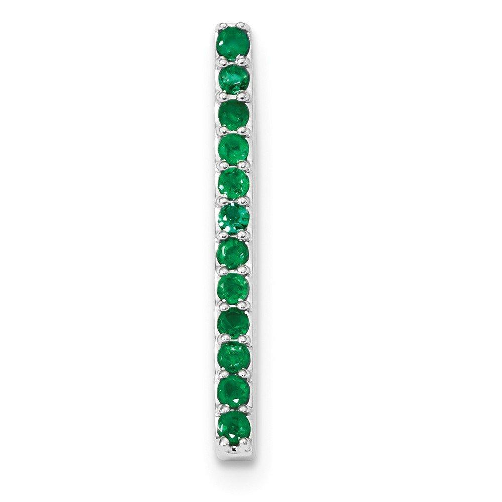 3mm 14k White Gold Emerald Chain Slide