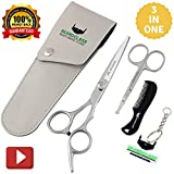 BEARDCLASS Beard Mustache Scissors Kit Set for Men (3 in 1) for Beard Care with Small Comb and Leather Pouch