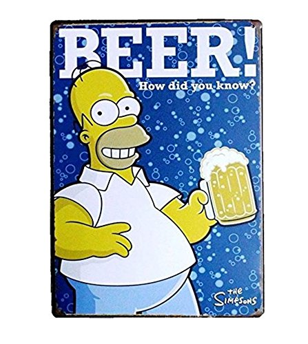UNiQ Designs BEER The Simpson's Bart Simpson Vintage Metal Beer Tin Signs - Guinness compliment Bar Signs Vintage Beer Wall decor Alcohol Signs-Funny Signs for Bar Beer Decorations Bar Sign Decor 12x8
