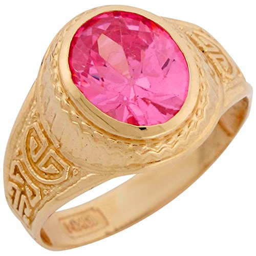 - 10k Yellow Gold Simulated Pink Tourmaline October Birthstone Mens Ring