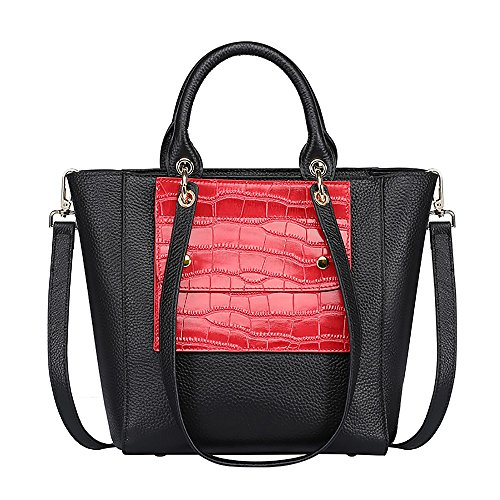S-ZONE Women's 3-Way Genuine Leather Handbag Shoulder Cross-body Bag Ladies Purse (Black-Red) Red Leather Purse Handbag