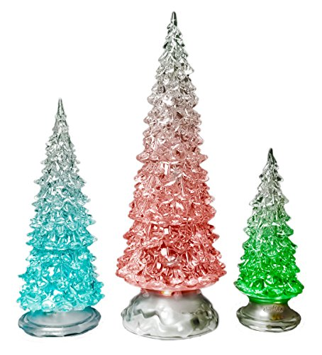"LED Lighted Acrylic Christmas Trees Holiday Decoration Set of 3 Assorted Sizes 10"", 7.5"" & 5.5""H"