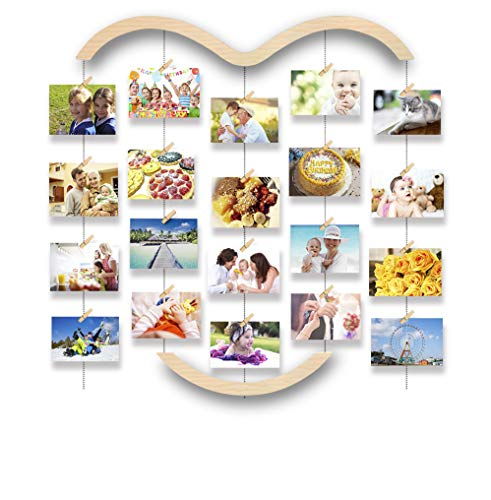 Uping Hanging Photo Display for Wall, Wood Picture Frame Collage with 30 Clips Multi Photo Display Collage Board for Party,Home, Office Decor (29.1 X 25.2 Inch)