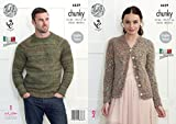 King Cole Knitting Pattern Womens V Neck Cardigan & Mens Round Neck Sweater Verona Chunky (4439) by King Cole