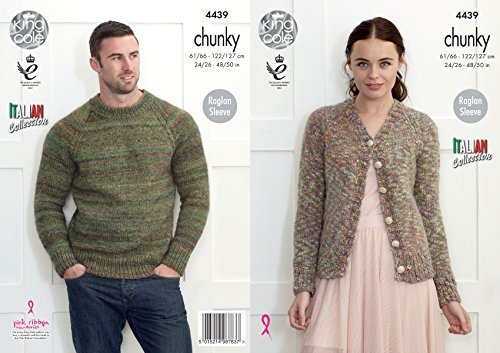 King Cole Knitting Pattern Womens V Neck Cardigan & Mens Round Neck Sweater Verona Chunky (4439) by King Cole by King Cole