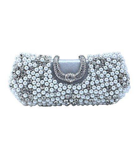 MissFox Women's Simplicity Bead Man Made Diamond Handbag Clutches Evening Bags Silver